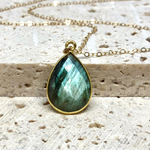 Teardrop Labradorite Gem Necklace