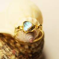 Abalone Heart Gold Ring