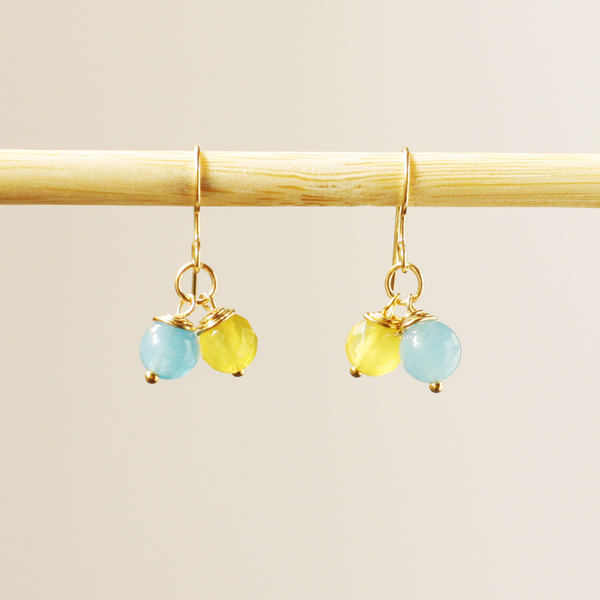 Twin Citrine & Blue Chalcedony Earrings