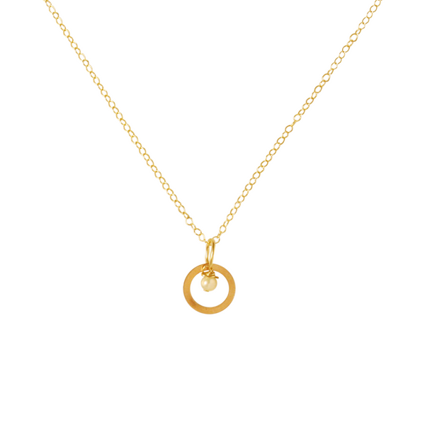 Freshwater Pearl Circle Necklace - Gold