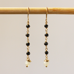 Black Onyx and Pearl Dangler Earrings