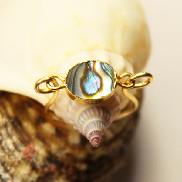 Abalone Oval Gold Ring
