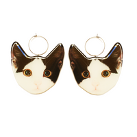 Here Kitty Kitty Earring Hoop - Black/White