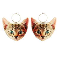 Here Kitty Kitty Earring Hoop - Blue Eyes