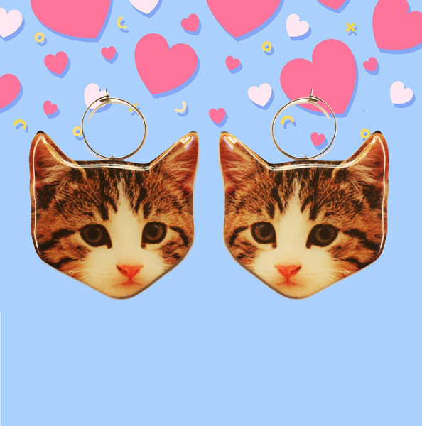 Here Kitty Kitty Earring Hoop - Striped Tabby