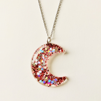 Glitter Pink Moon Necklace