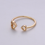 Double Heart Adjustable Ring