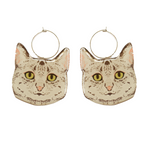 Smaller Kitten Earring Hoop - Gray