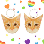 Smaller Kitten Earring Hoop - Tabby