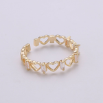 Sparkle Hearts Adjustable Ring