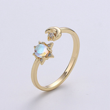 Sparkle Star and Moon Gold Ring