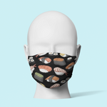 Sushi on Black - Traditional Face Mask  (In Stock)