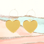 Love Gold Heart Hoops