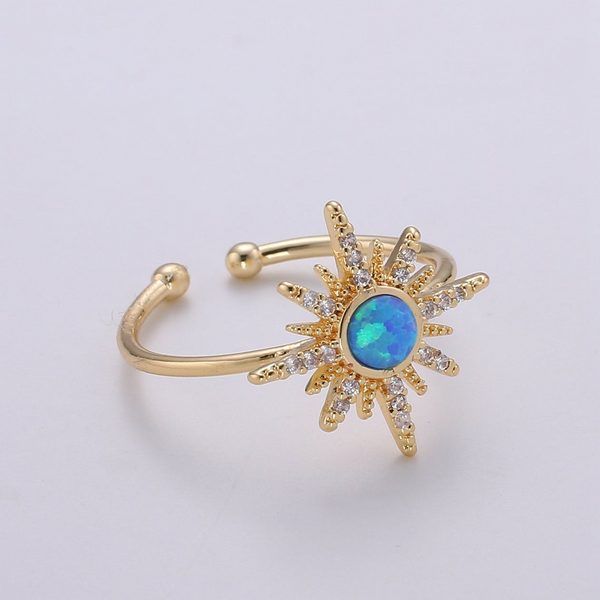 Blue Opal Sunshine Gold Ring