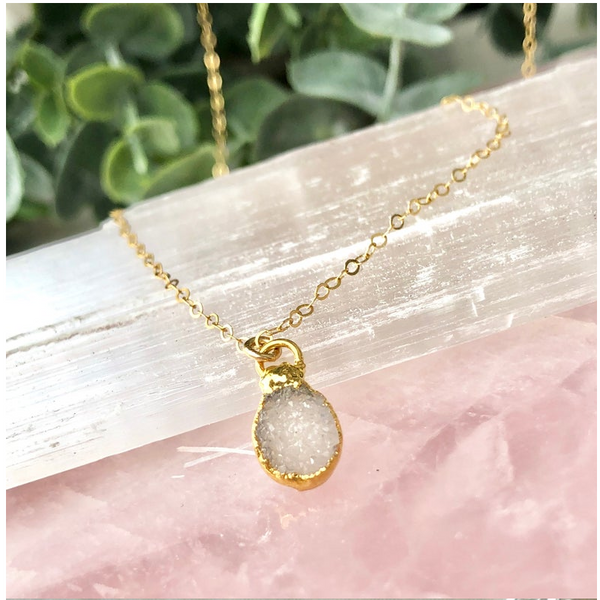 White Druzy Gem Necklace