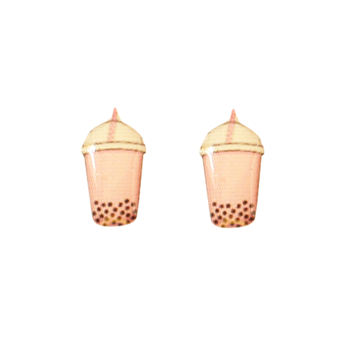 Boba Tea Earring - Strawberry