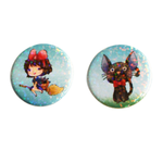 Kiki and Black Cat Holographic Button Set