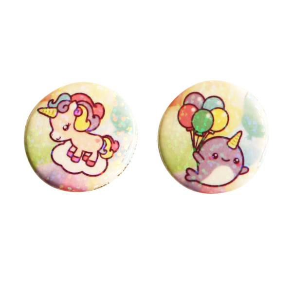 Unicorns and Narwhals Holographic Button Set