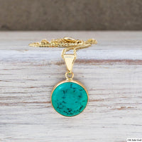 Turquoise Gem Circle Necklace