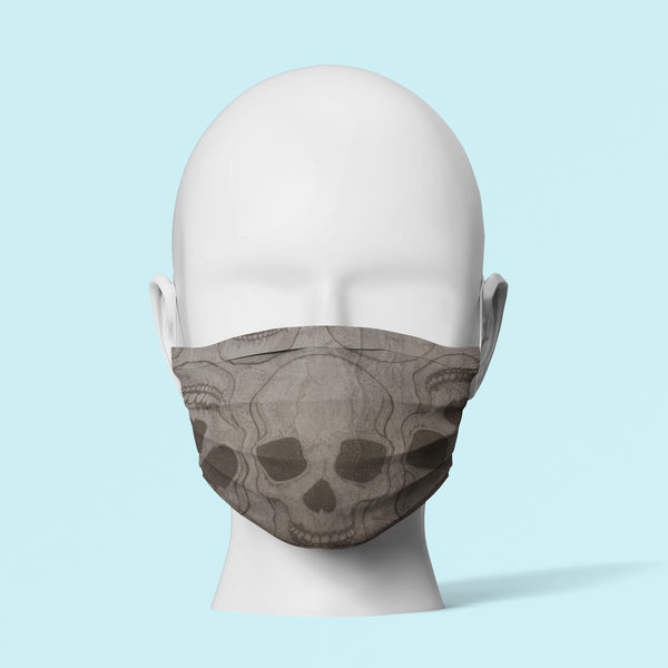 Grey Skulls - Traditional Face Mask  (In Stock)