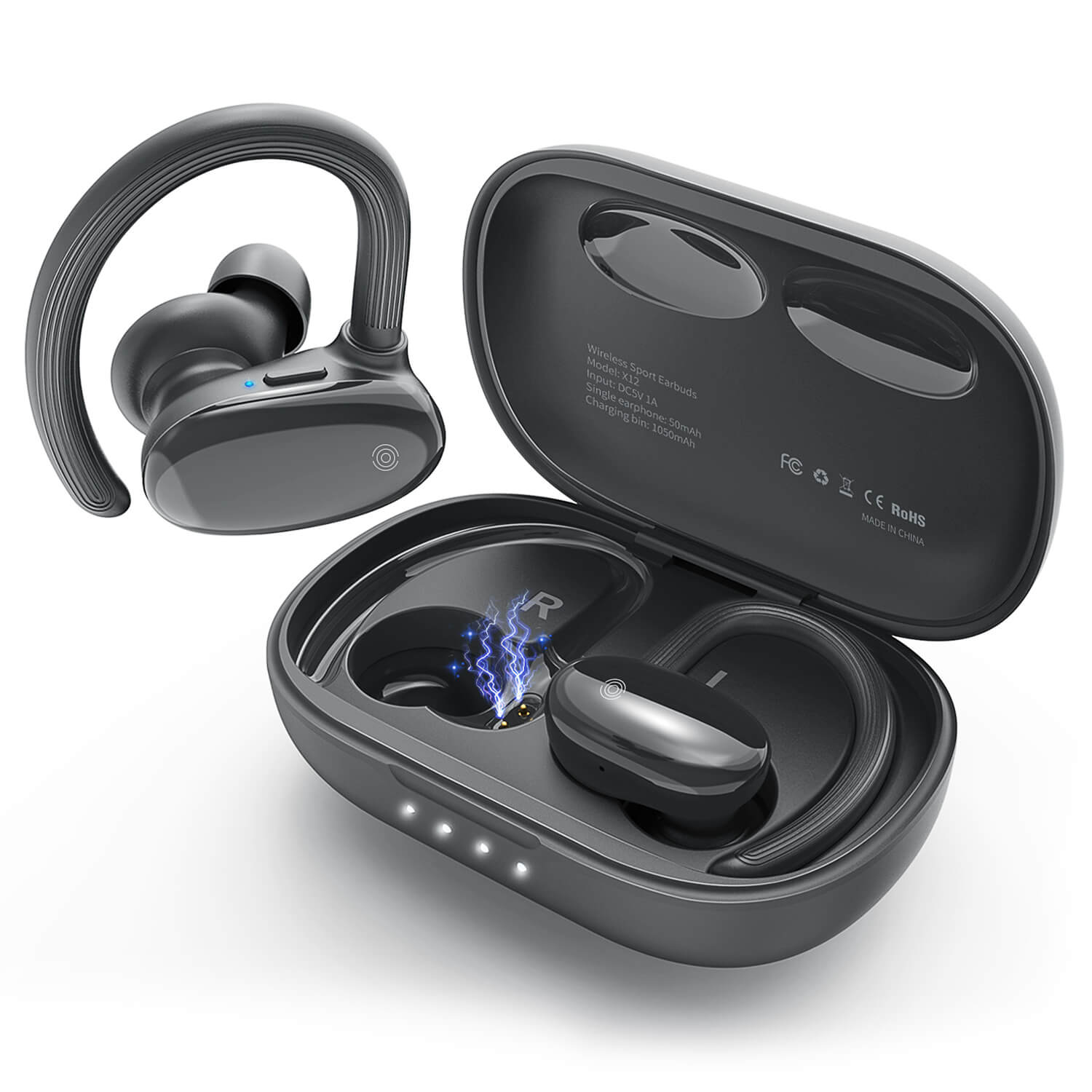 AOPOY TWS Wireless Earbuds Bluetooth 5.0 HiFi Headphones, Touch Control & Charging Case, IPX6, 60H, Black & Grey