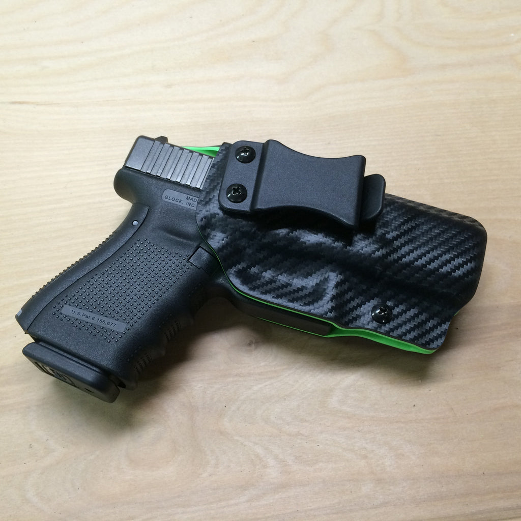 Glock 19 zombie green and black carbon fiber IWB holster