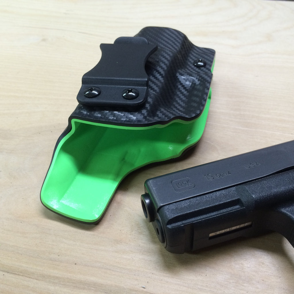 Two tone zombie green and black carbon fiber IWB holster