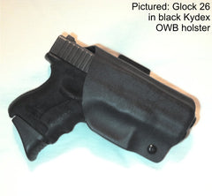 Glock 26 in black Kydex OWB holster