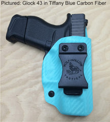 Glock 43 IWB holster, Tiffany blue carbon fiber