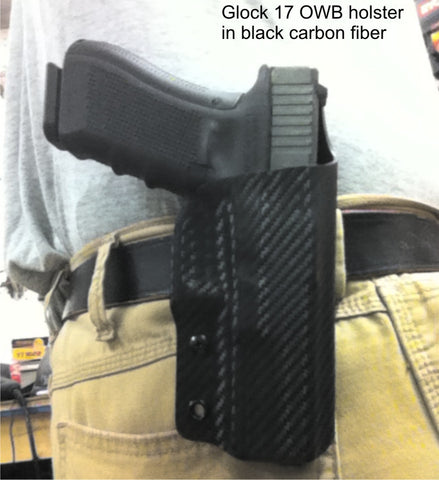 Glock 17 in black carbon fiber Kydex OWB holster