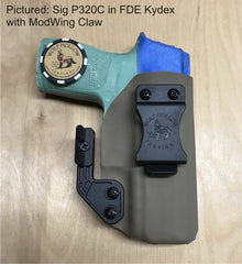 Sig P320c IWB holster in FDE Kydex with ModWing claw