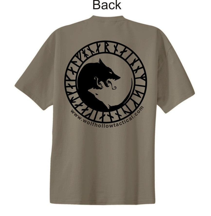 Tan Odins Wolves back shirt