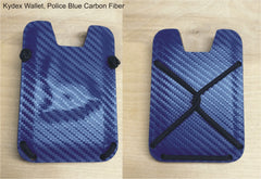 Kydex wallet in police blue carbon fiber