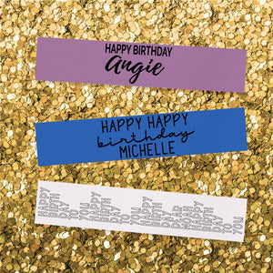 Happy Birthday + Name (Multiple Designs) - Personalized Ribbon - 1.5""
