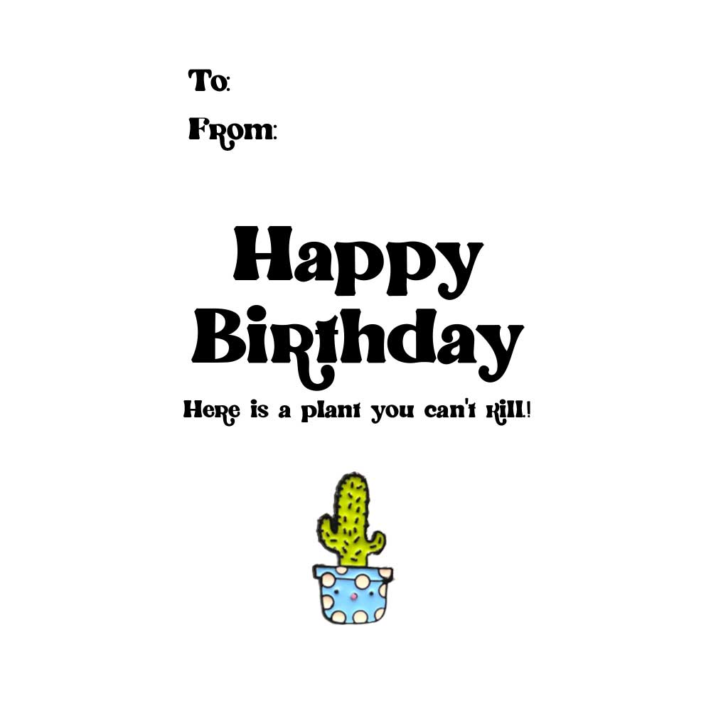 Plant Birthday Tag + Enamel Pin