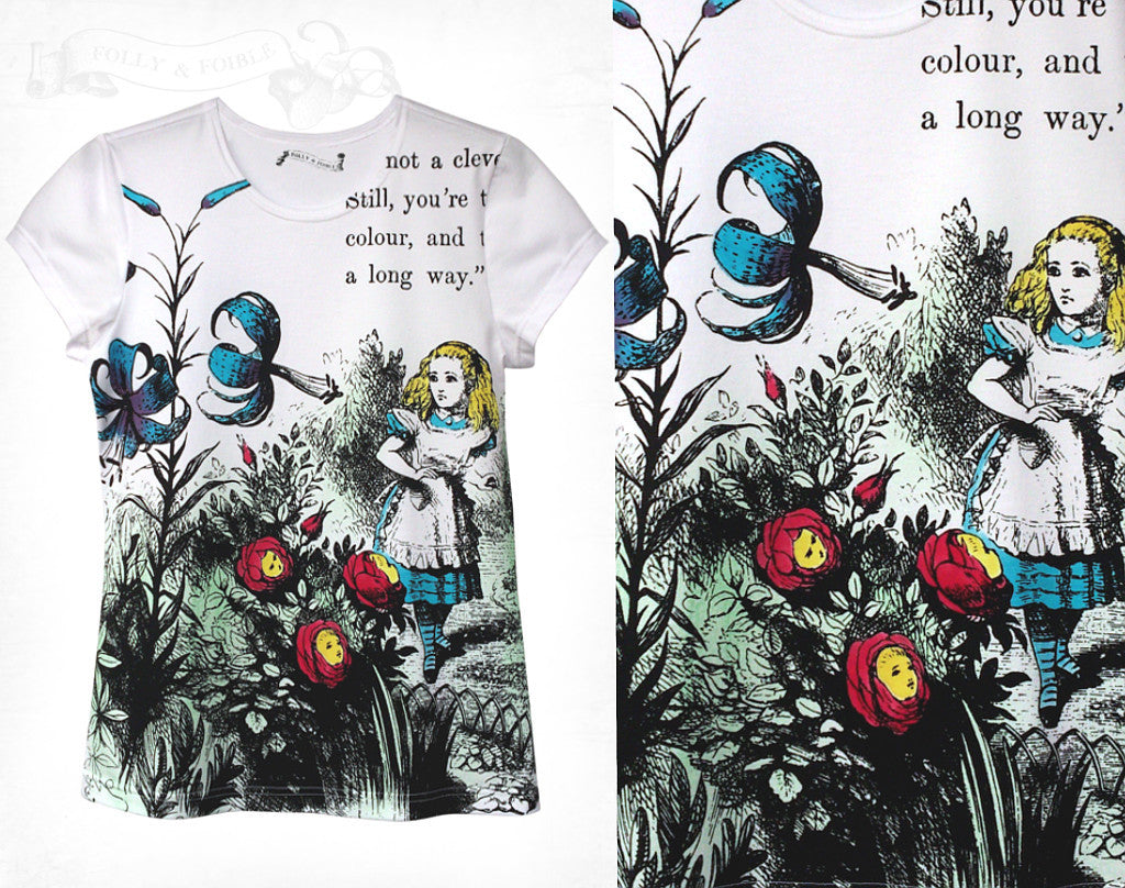 Alice in Wonderland 'Live Flowers' Cotton T-shirt ~ Hand coloured