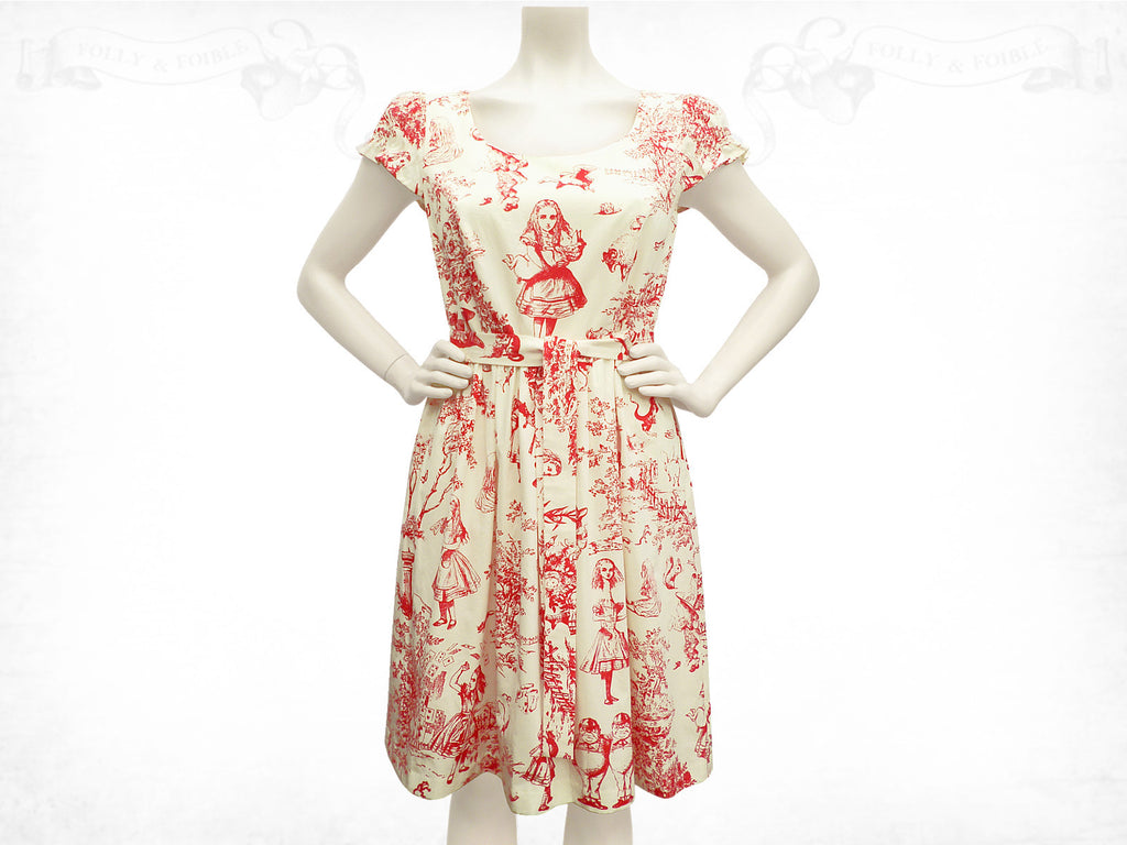 Alice in Wonderland Toile de Jouy cotton dress Puff sleeve red cream