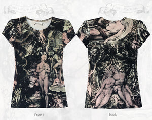 William Blake collage cotton T-shirt ~ Hand coloured