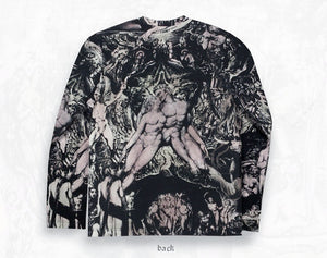 William Blake collage men's cotton Long sleeve T-shirt ~ Hand coloured