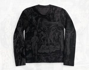 William Blake collage men's cotton Long sleeve T-shirt ~ Charcoal