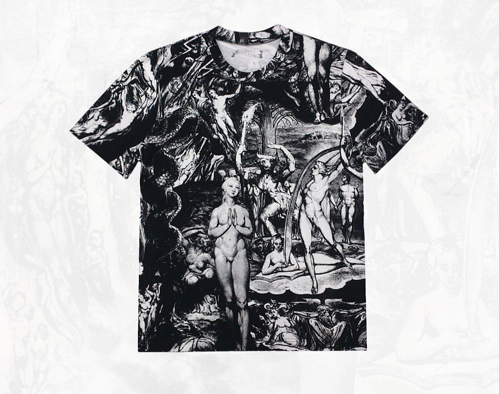 William Blake collage men's cotton short sleeve T-shirt ~Black and white