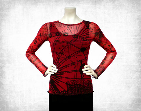 Fairground Attraction mesh top ~ Red