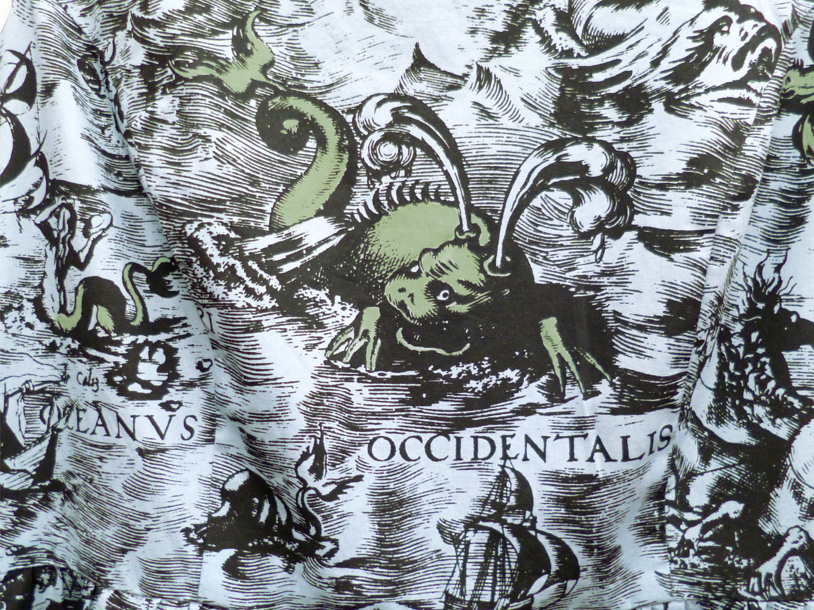 Sea Monsters Hand coloured Cotton Dress~ Ocean Blue