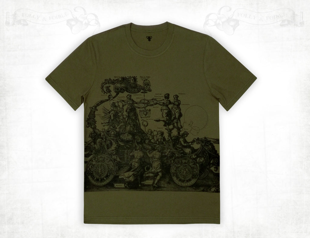 Medieval Chariot men's cotton short sleeve T-shirt ~ Olive green