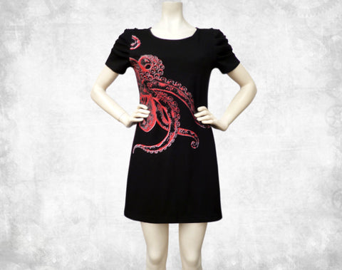 Octopus Puff sleeve dress ~ Red/Black