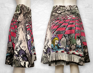 Alice in Wonderland Mad Tea Party cotton flared skirt / Hand Coloured
