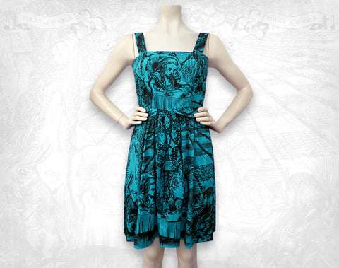 Alice in Wonderland Mad Tea Party Sundress / Turquoise