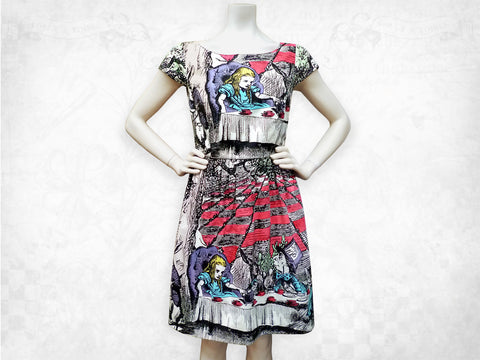 Alice in Wonderland Mad Tea Party hand coloured cotton dress- Cap sleeve