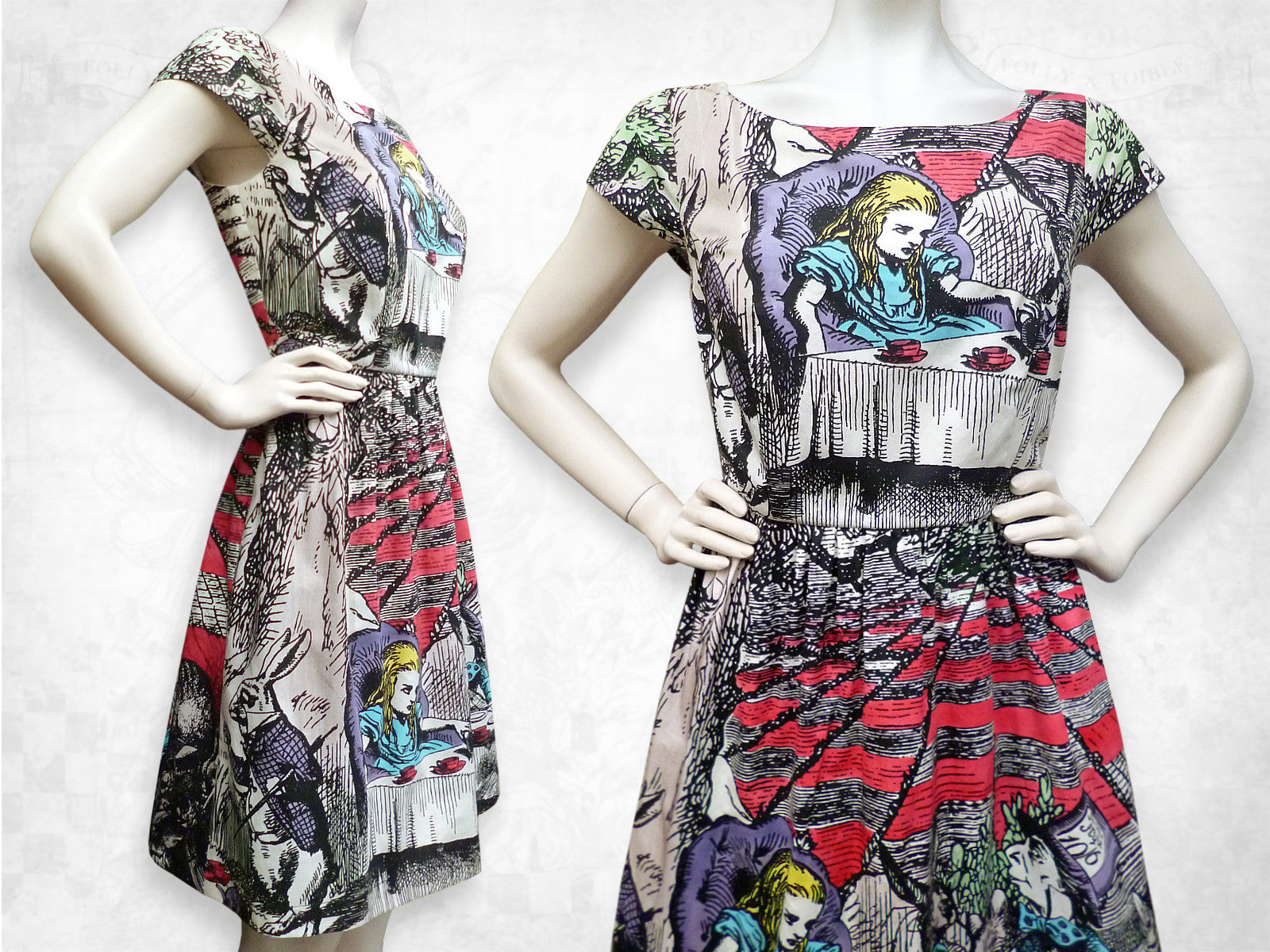 Alice in Wonderland Mad Tea Party hand coloured cotton dress