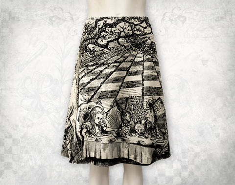 Alice in Wonderland Mad Tea Party cotton flared skirt / Ivory